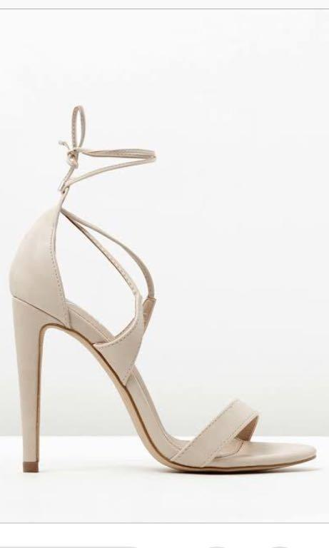 Nude lace up heels