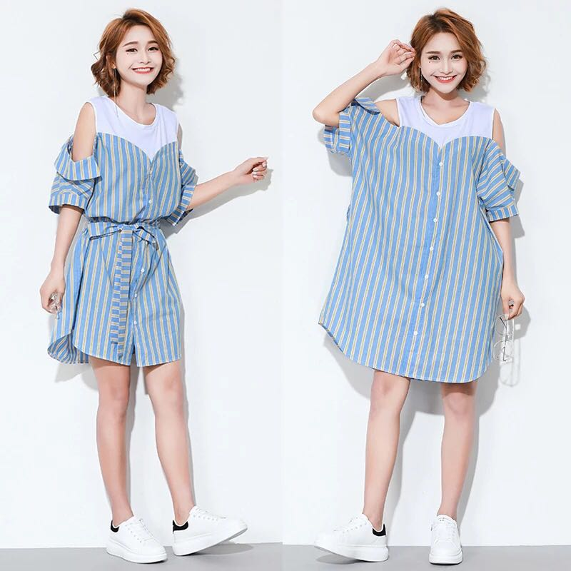 5124a6ec26e Plus size European and American style vertical stripes in the long ...