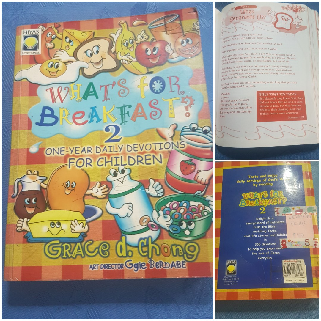 WHATS FOR BREAKFAST 2 - One year daily devotions for children BY Grace D  Chong, Books, Children's Books on Carousell