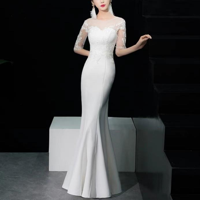 bdeef6a55f4 White qipao cheongsam dress   evening gown   wedding Dress