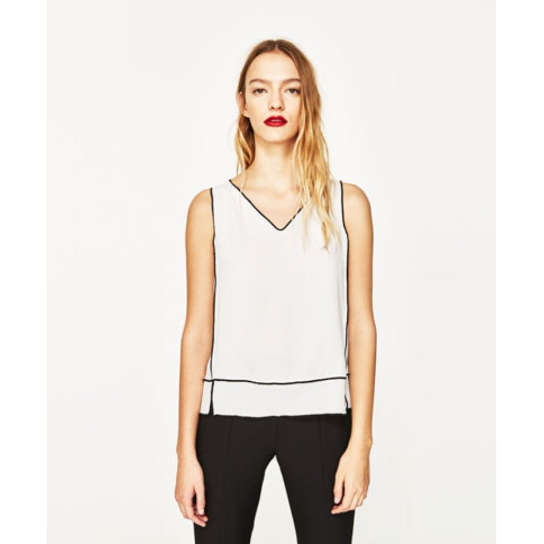 6ad9bec3 ZARA Top with Contrasting Trims #Next30, Women's Fashion, Clothes ...