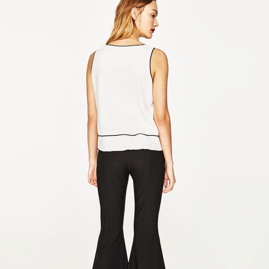 04bc1008 ZARA Top with Contrasting Trims #Next30, Women's Fashion, Clothes, Tops on  Carousell