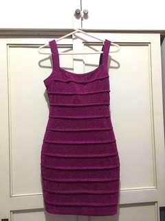 BNEW glittery magenta bodycon dress