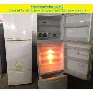 Mitsubishi 385L, 3 doors fridge / refrigerator ($235 + free delivery & 2mth warranty)