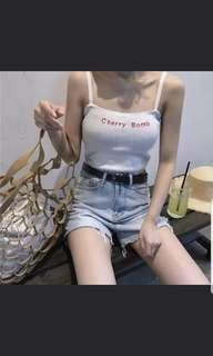 BNWT INSTOCK Cherry Bomb Nct Ulzzang chuu Korean Camisole/ Top