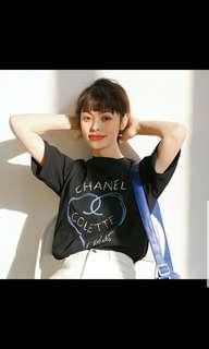 BNWT INSTOCK Chanel Colette Ulzzang Korean Heart Shirt In Black