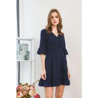 🚚 BN TSW Allura Faux Wrap Ruffles Dress in Navy