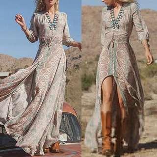 全新 波西米亞雪紡七分袖鬆緊腰長洋裝 size:S-M