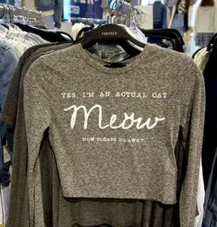 NEW Forever 21 Crop top long sleeve Meow