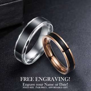 4cbc109b1d SCPR-2104 • Black Rose Gold Wedding Couple Ring • FREE ENGRAVING NAME DATE