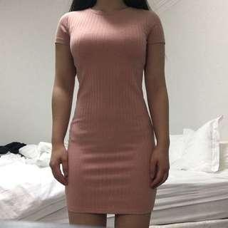 F21 Ribbed Dress with open back cut (Small)