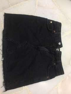 TOPSHOP Black Raw Hem Skirt