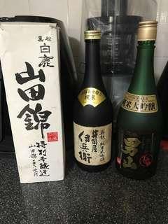 3 sake bottles