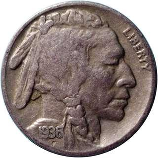 Buffalo nickel / Indian Head nickel 1936S
