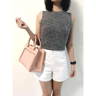 Dark Grey Sleeveless Knit Top