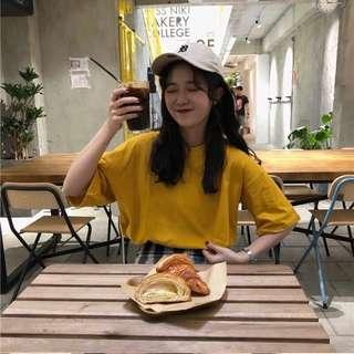 (PO) Korean Mustard Yellow Oversize Top