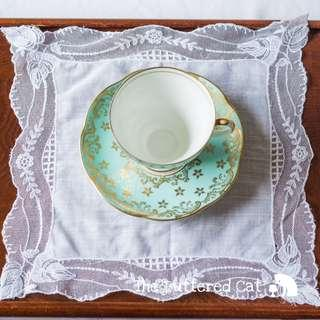 Pretty vintage wedding handkerchief, white net lace, cotton centre