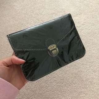 Faux leather cross body pouch