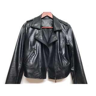 🚚 歐美復古懷舊仿小羊皮拉鍊夾克 Zara風格翻領皮外套 帥氣騎士皮衣外套