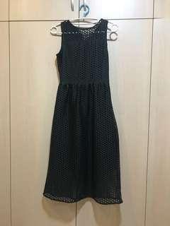 🚚 法國墨綠絲絨網格洋裝