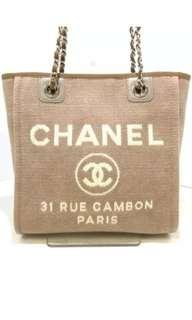 Preloved Chanel Deauville Pm Tote Beige (Pale pink) Shw #24