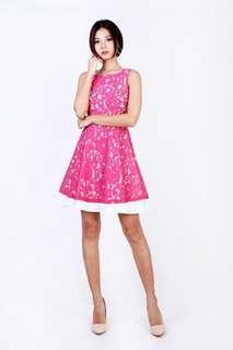 Christel Lace Overlay Dress in Magenta - Size : XS