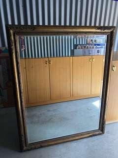 Large Antique Wooden Frame Mirror