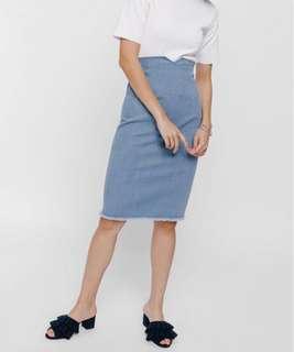 love bonito xegja high waist denim raw hem skirt