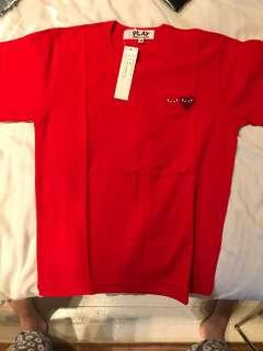 Cdg commes de garcons red tshirt double heart