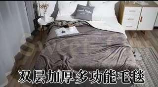 🚚 三秒發熱羊羔絨毯, 正面法蘭絨,背面羊羔絨  雙人毯 一夜好眠👍可水洗👏  四色可選~紅,藍,紫,灰 ~ 超值優惠價$499