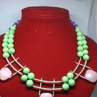 gorgeous necklace with amethyst,Pink quartz and Peridot gems sterling silver