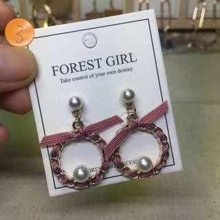 🚚 緞帶聖誕花圈耳環 925銀針
