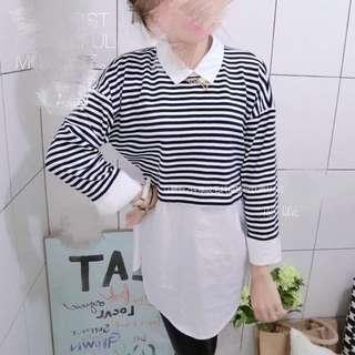 🚚 (韓)假兩件式條紋襯衫
