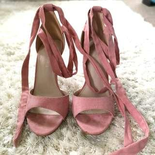 Light pink / blush strappy high heels.