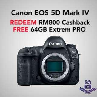 (11.11 SALE) New Canon EOS 5D Mark IV Body Only (Online Redeem CASHBACK RM 800 + 64GB EXTREME PRO)