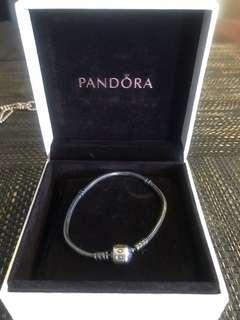 Pandora 17 cm black oxidised silver bracelet