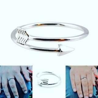 Solid silver arrow ajustable ring, Free postage