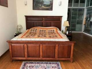 King bed with mattress wood free 2 side table