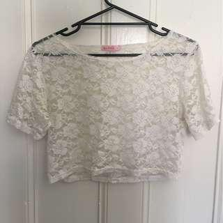 White lace crop top size 8
