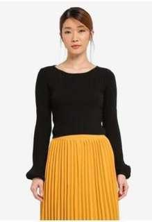 Zalora Something Borrowed Blouson Knitted Long Sleeve Ribbed Crop Top