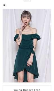 Mania ruffle dress emerald green yhf