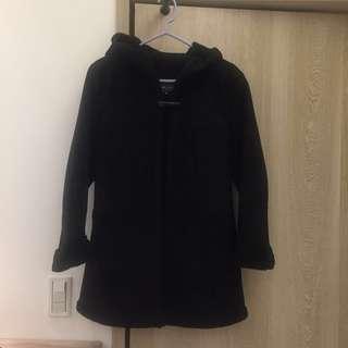 Bossini牛角扣麂皮毛料連帽大衣外套 女生XL附自己丈量尺寸