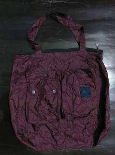 法國名牌Lanvin棗紅色/紫紅色輕便可摺細tote bags/環保袋