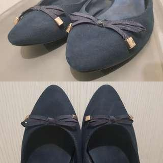 Sfera blue flats with ribbon