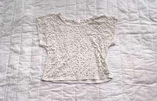 #single11 White lace hole crop