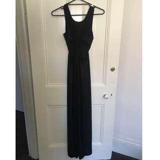 Slinky black maxi dress with side cutouts