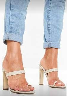 Nude strappy heeled mule