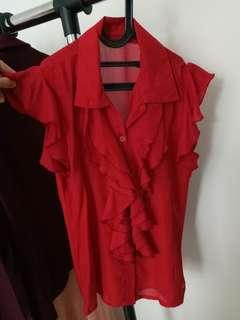 Ruffle shirts - 3 pieces - Red, brown, and green. Free shipping Jabodetabek