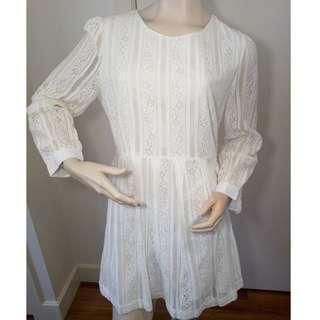 Princess Highway Long Sleeve White Lace Dress   Size 16