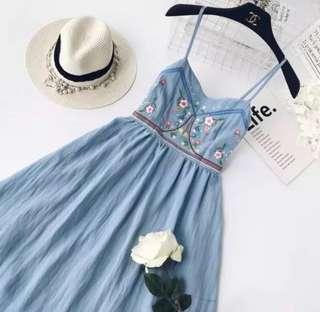 🌷(IN STOCK) Lana Embroidery Babydoll Dress Blue